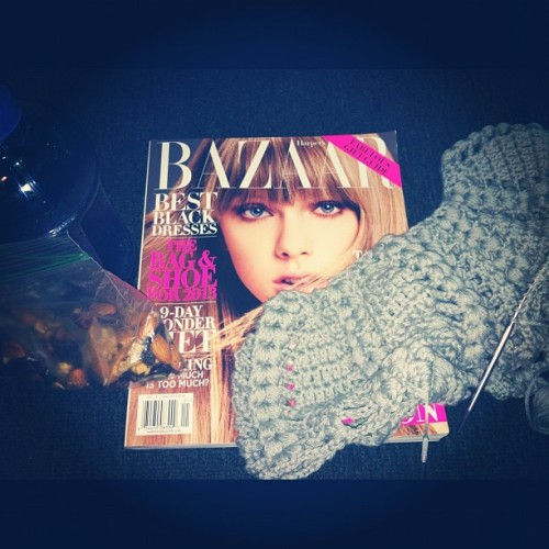 Getting through #tech with #knitting #fashionmagazine #Bazaar #trailmix #work #backstage #theatre