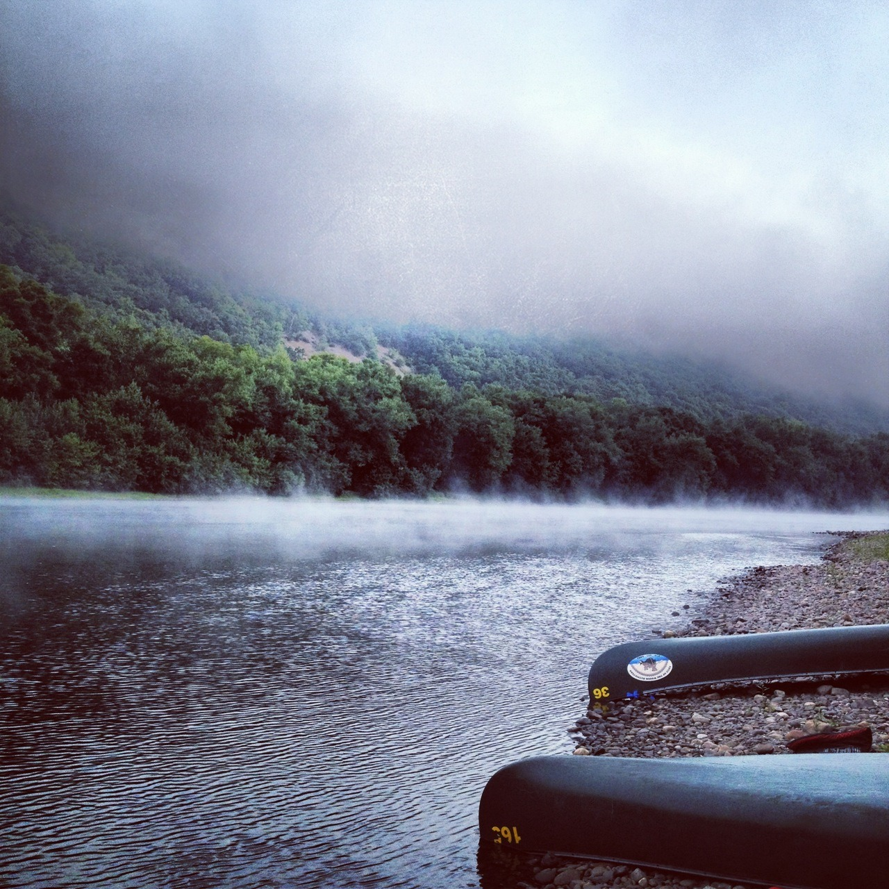 electricsparrow:  summer flashback 3:  Fog on the Delaware River at 7:00am