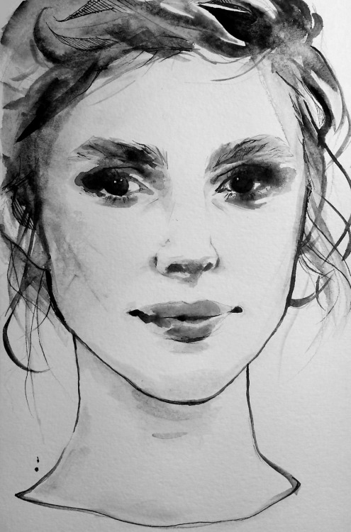 Keira Knightley watercolor sketch; watercolor and micron pen, in the watercolor Moleskine