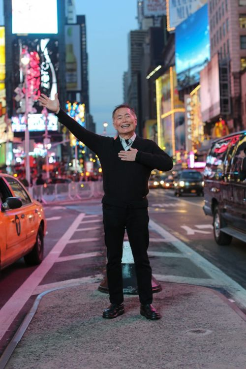 georgetakei:  humansofnewyork:  A little fun with George Takei in Times Square.  Here I am, in the heart of the greatest city on earth, preparing to take over Broadway in my new show, Allegiance.  What better way to celebrate then a fun photo with Humans of New York! Get ready, New York City, for the Takei Two Step!