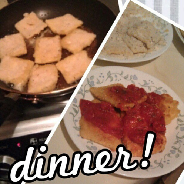 Made dinner tonight! #parmesan #encrusted #cheese #ravioli (: @yusodakine @goobear3 @smalia79 @aka_bruddah