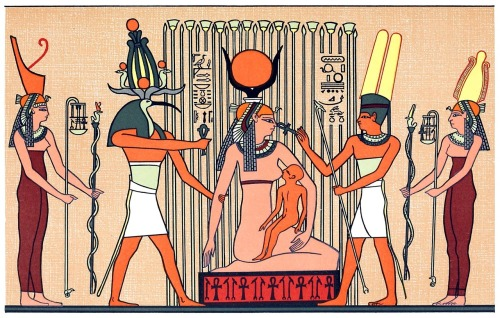 Isis in the papyrus swamps suckling Horus.  From The gods of the Egyptians vol. 2, by E. A. Wallis Budge, Chicago, 1904.  (Source: archive.org)