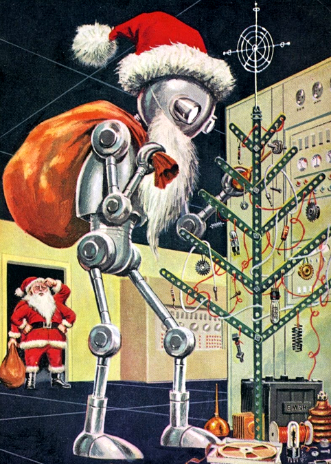 rogerwilkerson:  Robot Santa Claus - detail from cover December 1960 Galaxy Science Fiction Magazine