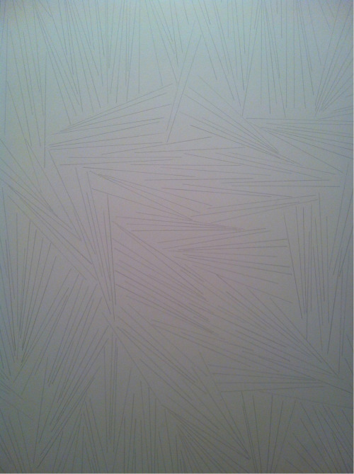 "Sol Lewitt  Wall Drawing #45: Straight lines 10"" long, not touching, covering the wall evenly (SFMOMA)"