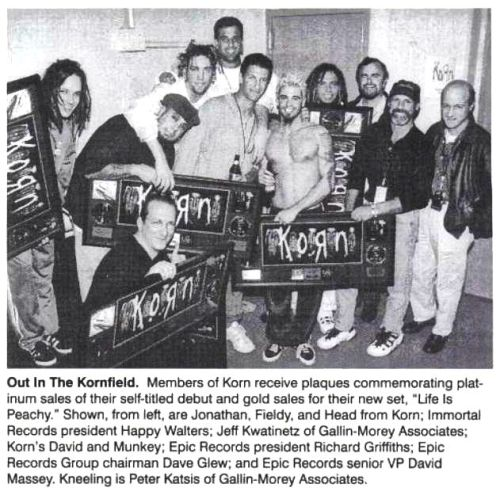 zingyvillain:  Korn with their plaques for their platinum self-titled album. :)