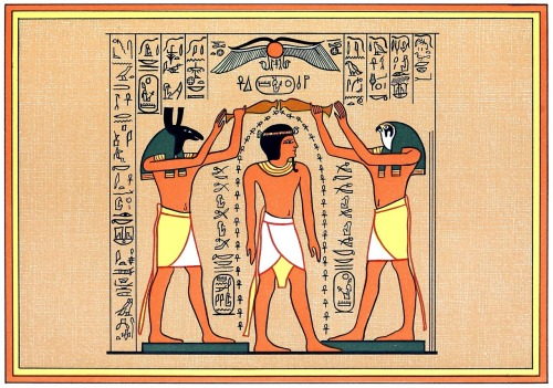 Set and Horus pouring out life over Seti.  From The gods of the Egyptians vol. 2, by E. A. Wallis Budge, Chicago, 1904.  (Source: archive.org)