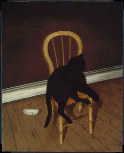oldpainting:  Andrew L. von Wittkamp, Black Cat on a Chair, 1850s on Flickr. Click image for 649 x 800 size. American