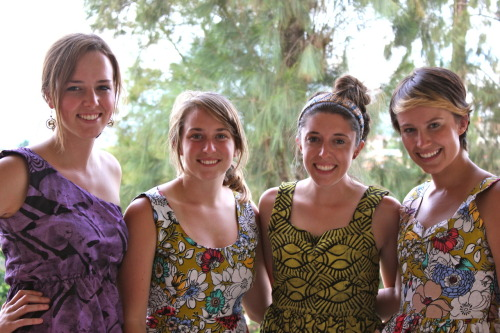Some of the girls and I in our market made dresses