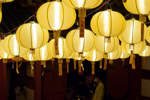 Yellow Lanterns at Sofukuji by Sue Ann Simon on Flickr.