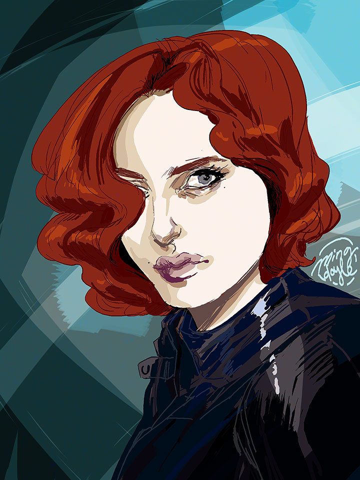 mingdoyle:  Black Widow, half hour Photoshop speed painting. Scarlett Johansson's face must just be seared into my brain.