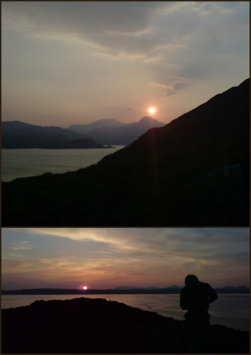 alexandermichaelcrow:   Sunrise and Sunset in Scotland.   The sun is rising in the top photo, behind Sgurr Coire Choinnichean on Knoydart.  It is setting behind southern Skye, for Stephanie. These photos were taken on my phone, before I bought my current camera, in early May, 2008.  I have over fourteen thousand photos on my flickr account, mostly of wilderness adventures.  Plenty more to come…     My sun rises looking toward Mt. Washington, is sparkling off the blazing white top of Grouse Mountain, and shining on the jeweled dew on the grass in my garden, but all of that is pallid compared to the sun's journey each day on beautiful Skye.  Alex, one day you and I will share a strupak and talk of this and other adventures.