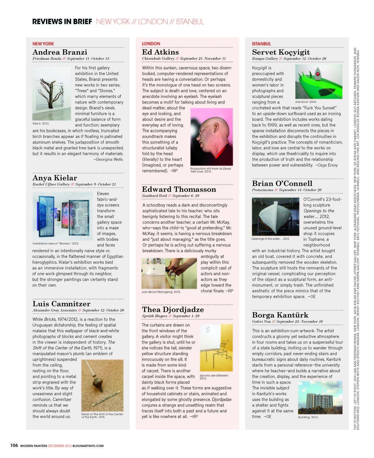Reviews in Brief, Modern Painters, December 2012.
