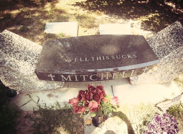 sleepingwithofmiceandsquidgy:  Mitch Lucker's Tomb Stone.  R.I.P.