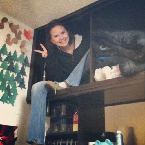 randomteenagethoughts:  Got bored so climbed into my cubby hole :) #college #cool #funny #fun #adventure #weird