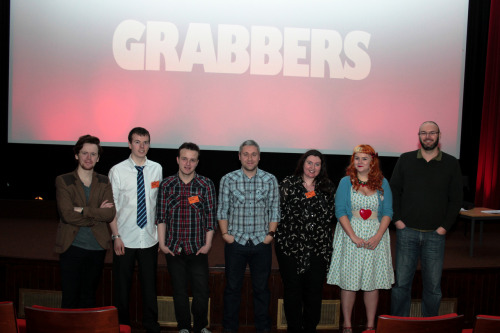 I was in Bo'ness recently to introduce Grabbers and do a screenwriting masterclass at The Hippodrome, Scotland's oldest cinema. Thanks to Jonathan Melville (far right) for easing me through my first solo Q&A too.