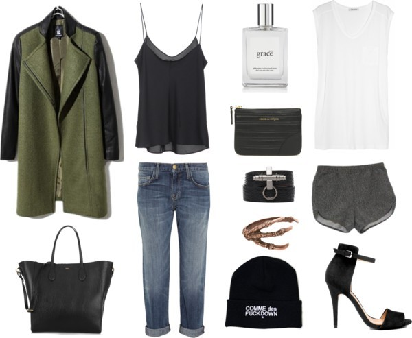 T By Alexander Wang jersey top / Wool coat / Current/Elliott boyfriend fit jeans / The Row , $325 / American Apparel / Zara  sandals / Rochas , $1,485 / Comme des Garçons pouch bag / Givenchy bangle bracelet / Pamela Love cuff bangle bracelet, $1,375 / Beanie hat / philosophy  http://carollena.polyvore.com/