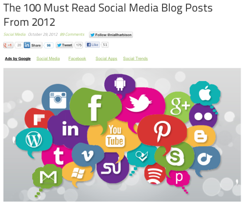 The 100 must read social media blog posts from 2012.[resource / inspiration / trends]Simply Zesty is one of my go to sources when it comes to news from the digital world – and they've pulled together an epic list highlighting posts you'll recognize and stuff you've probably also missed. Great to bookmark for winter reading or for future inspiration. Some previously undiscovered favorites include: If Hackers Didn't Exist, Governments Would Have to Invent Them (from The Atlantic in early July); Careful, Twitter – Remember what happened to MySpace and Digg (GigaOm, June); Why Windows Just Can't Win (Wired, October.)