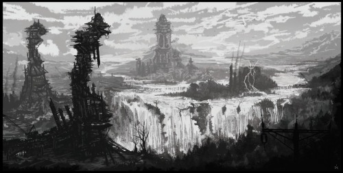 Black & white enviro sketch after a long break.