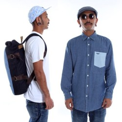 Denim 2012 Capsule Collection #rolltop #backpack #chambray #buttonups #flathat #newsboyhat #applejack