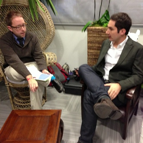 @kevin founder of Instagram getting ready for talk with @mgsiegler at @leweb. Live at http://LeWeb.net (at LeWeb Paris 2012)