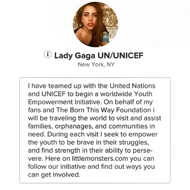 How amazing is this woman. #sheinspiresmeeveryday #loveher #UNICEF #LadyGaga