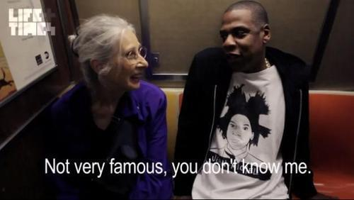 "nmemagazine:  Jay-Z has to explain who he is to an old woman on the subway    ""I'm proud of you."""