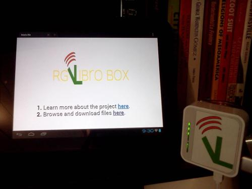 rgvlibrobox:  It's here!!  Yes, that's right the Libro Box is up and running and this project is officially launching!! This is an exciting achievement not just for me but it marks the first real step for the project. Now the the real work begins! What do I mean by that? I have a proof of concept device that I can go around and show interested parties the Libro Box. I gave a sneak peek to friends and family and they are excited and intrigued by the concept.  In the next few days I will be posting some tutorial and first hands on with the Libro Box. Once I get done working on that I will have more data I can use to promote the Libro Box. As I said before the first 2 initial goals for the Libro Box are access to valuable information and the distrubution of Chicano literature/art. Based on peoples first reactions and preliminary use of the Libro Box I am confident in accomplishing these goals.  So stay tuned for more updates and thanks again for all the support!  -Eduardo
