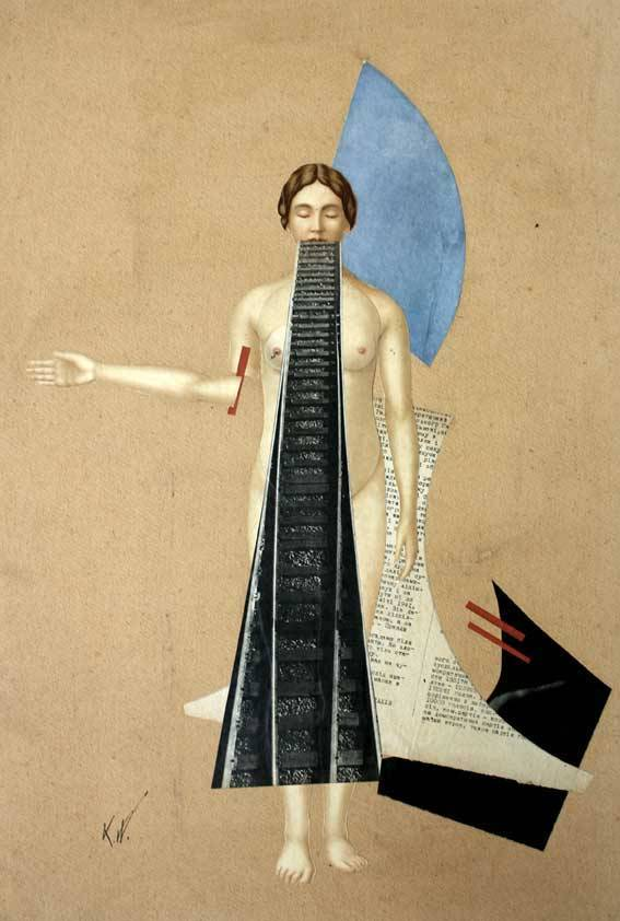 Karl Waldmann. ohne Titel / Untitled/ Sans titre, undated. Collage on cardboard, 65 x 43 cm.