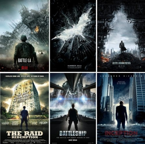 Copycat Movie Posters  Nobody copies like Hollywood and advertising. Put them together? Things get even worse.  But before you get too upset, remember what these posters are for: they're a kind of visual shorthand for genre. The fact that they all look alike is, to the marketing department, a feature, not a bug.  The first thing I learned as a librarian: you can judge a book by its cover, or at least its genre.