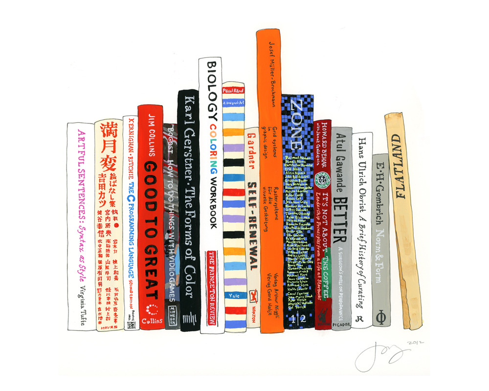 "idealbookshelf:   Ideal Bookshelf: John Maeda© Jane Mount 2012 / 10""x14"" / gouache & ink on paper John Maeda's ideal bookshelf, from our book!"