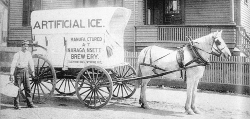 The Narragansett Brewery artificial ice wagon delivering all your chilling needs during and before the days of prohibition and refrigeration.
