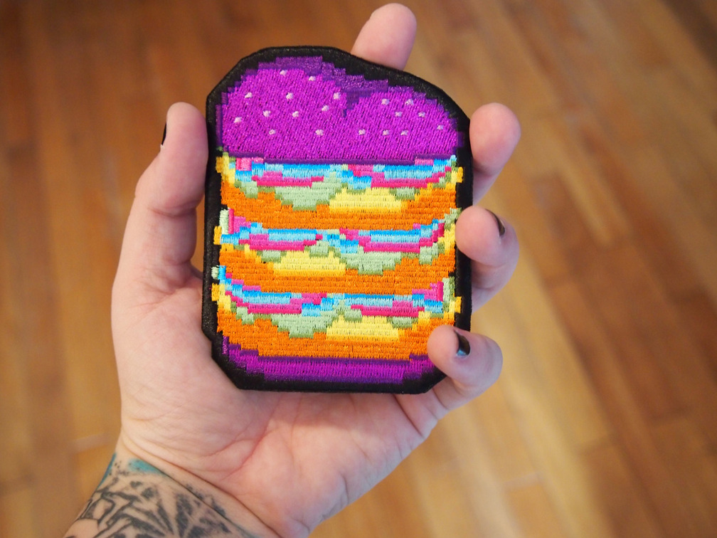 iron-on burger patches