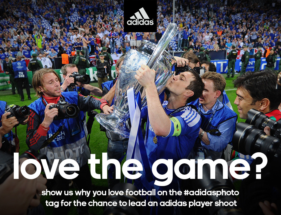 adidasfootball:  adidas is looking for the best undiscovered football photographer on Tumblr. Entering the competition couldn't be easier: simply take your best shot to capture the competition's theme – Your Love of the Game – and post it to your own Tumblr with the #adidasphoto tag. The competition closes on December 17th and will be judged by a panel that includes a regular adidas photographer, Barcelona and Brazil star Dani Alves and A Football Report. The photographer behind the winning shot will be assigned to a 2013 adidas photo shoot with a player and will win a DSLR camera to use on set and take home afterwards. Good luck! You can read the Terms & Conditions at: adidas.com. By adding #adidasphoto to your image you are agreeing to those Terms & Conditions.