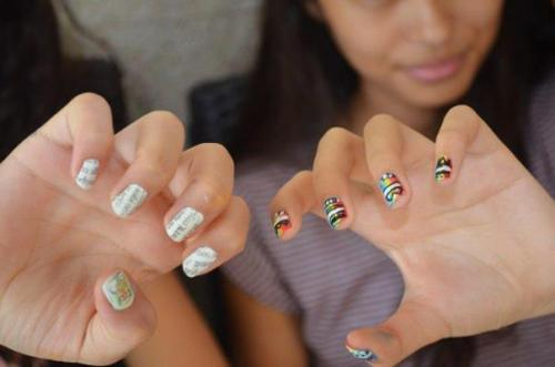 Newspaper nails and rainbow tribal nails!
