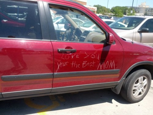 Someone Keyed Mom's Car Again It's the thought that counts. Also the insurance policy.