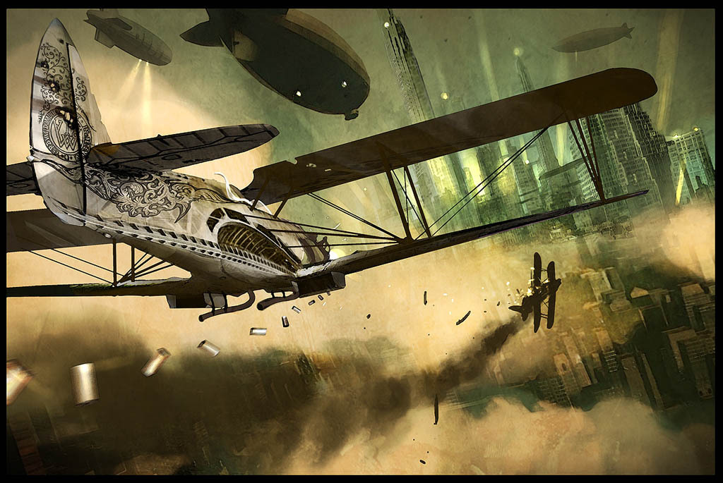 DIESELPUNK Biplanes and Airships and a stream of shell cases—- By Ornicar on DeviantArt HERE