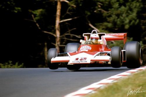 timewastingmachine:  Airborne Mclaren M23 car #12 Jochen Mass | 1976 German Grand Prix