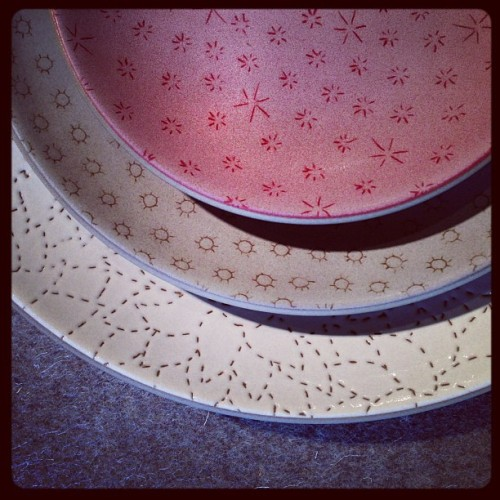 @alabamachanin - love the etched patterns together (at Heath Ceramics)