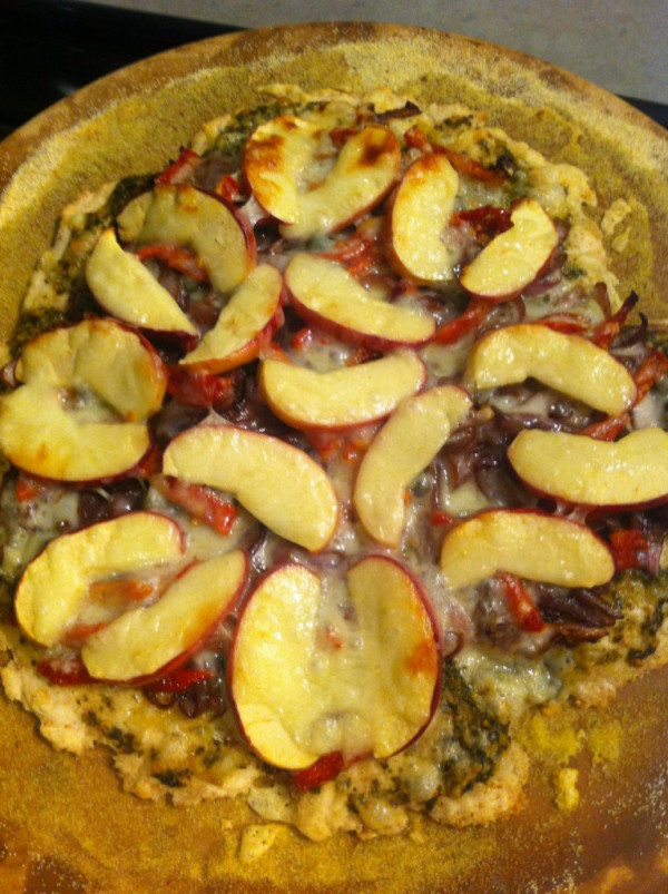 From Gastroposter Claire Salloum:  From @kickpleat, Apple, pesto, capers etc. The Mac Daddy Pizza.