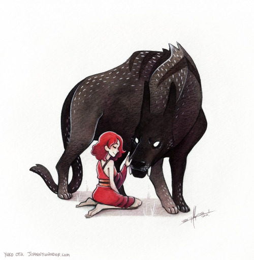 Kaia and Dhio.  ink wash, watercolor, pencil, white paint. (process gif here) After doing the Exquisite Beast for a year, I've been meaning to push myself more with real media, maybe emulate something similar to the whimsical lineless stuff maruti-bitamin and tir-ri do, or the mixed media paintings Sam Bosma seems to be able to churn out in his sleep. Anyway, I seem to be on a Beast Husband kick.  I think it started about a decade or two ago and expect it to putter out around the time I die.
