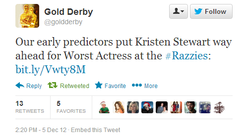 Experts agree, Kristen Stewart is going to win a Razzie Award.