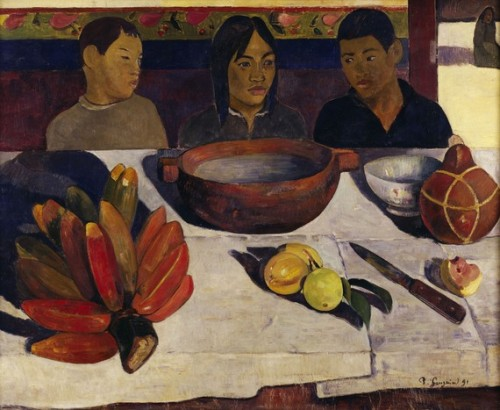 Paul Gauguin, 1891, The Meal From the Musee d'Orsay:    Gauguin painted The Meal in the first months after his arrival in Tahiti. Despite his desire to paint life on the island, his first canvases are contrived. This is not a real meal, but a scene arranged in two separate registers: in the foreground a still life justifying the title of the painting, and in the background, two boys and a girl sitting in a row. The proportions of the still life are astonishing. The hand of bananas, called fei in Tahitian, takes up nearly a quarter of the composition with the enormous fruit bordering on vermilion and the purple shadow cast on the tablecloth. The carved wooden bowl holding coconut milk, but traditionally used for fish, is also an impressive size. To complete his composition and add splashes of colour, Gauguin has included a European faience bowl, a calabash serving as a jug, fruit, a partly-eaten guava and some oranges. A knife placed at an angle indicates depth. The white cloth, with its neat folds, is also a reminder of compositions by Cézanne or Manet.
