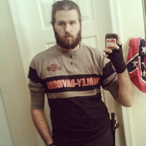 bellavondoom:  My southern puddin'! #beard #beards #aghoulistmike #made in the south #with sweet tea #harley davidson #biker