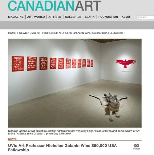 "UVic Art Professor Nicholas Galanin Wins $50,000 USA Fellowship  By Leah Sandals POSTED: DECEMBER 5, 2012     Nicholas Galanin, the 2012/13 Audain Professor in Contemporary Arts of the Pacific Northwest at the University of Victoria, has received a $50,000 Rasmuson Fellowship from United States Artists, a non-profit organization aimed at investing in ""America's finest artists."" Galanin's fellowship was in the Crafts and Traditional Arts category. Galanin is a Tlingit/Aleut artist from Sitka, Alaska, and he describes his practice as ""contemporary multimedia work that transcends the familiar, time-honored iconography of Tlingit and Northwest Coast art."" His work was featured in the Vancouver Art Gallery's recent survey of artists who connect Aboriginal identity and urban youth culture, titled ""Beat Nation."" A touring version of the show will open at Toronto's Power Plant on December 15. Galanin's work was also featured in group shows at Vancouver's Grunt Gallery and Bill Reid Gallery over the past year, while Trench Contemporary Art (his Vancouver dealer) recently wrapped a solo show titled ""I LOOOOOVE YOUR CULTURE."" His work was also in Montreal gallery Art Mûr's ""A Stake in the Ground,"" curated by Nadia Myre, in January. According to a release from Trench, Galanin plans to buy a house or build a studio with the funds.   http://www.canadianart.ca/news/2012/12/05/uvic-art-professor-nicholas-galanin-wins-50000-usa-fellowship/"