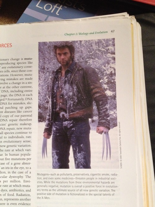 "uproxx:  ""My anthropology text book has a picture of Wolverine to show mutation."""