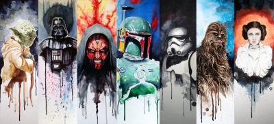 Star Wars watercolor character studies by David Kraig. Galactic!
