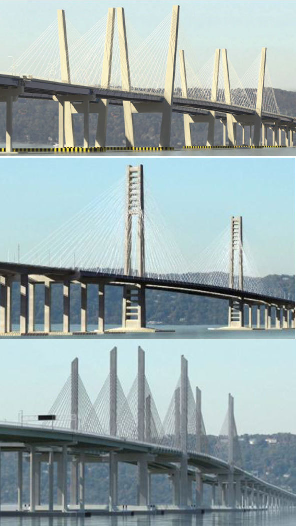 These are the three bridge design proposals that the state Thruway Authority unveiled this afternoon.  Which do you prefer?