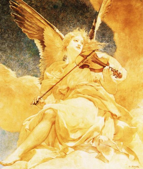 books0977:  L'ange musicien (1892). Henri Pinta (1864–1901). Music is the language spoken by angels. ~ Henry Wadsworth Longfellow