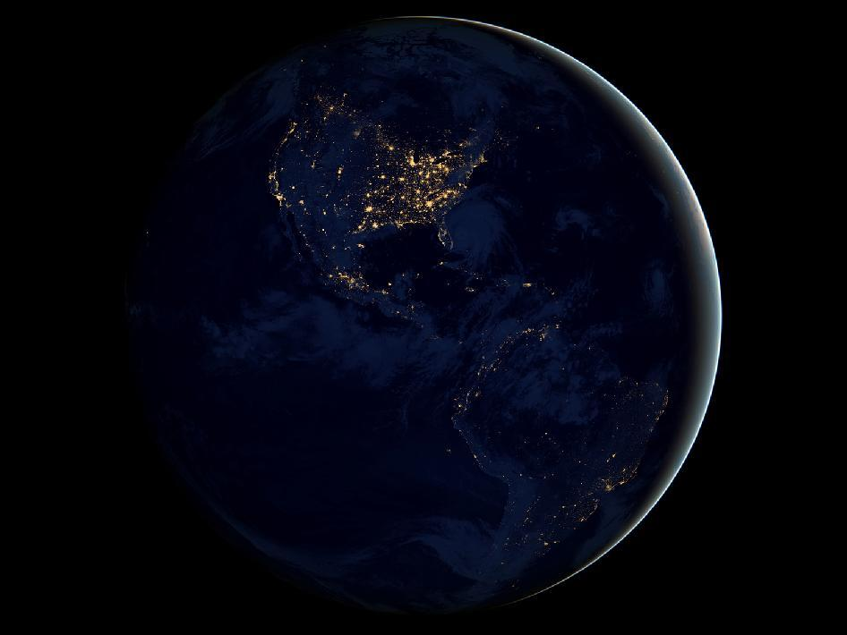 Earth at Night This new global view of Earth's city lights is a composite assembled from data acquired by the Suomi National Polar-orbiting Partnership (NPP) satellite. The data was acquired over nine days in April 2012 and 13 days in October 2012. It took 312 orbits to get a clear shot of every parcel of Earth's land surface and islands. This new data was then mapped over existing Blue Marble imagery of Earth to provide a realistic view of the planet. Photo/Caption Credit: NASA