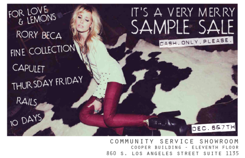 In Los Angeles this Thursday & Friday? Stop by our Community Service Showroom in DTLA for their VERY MERRY SAMPLE SALE. Select styles from Moto, Diamonds and Braids will be sold at discounted prices!